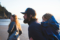 Family enjoying Oswald West State Park, OR.