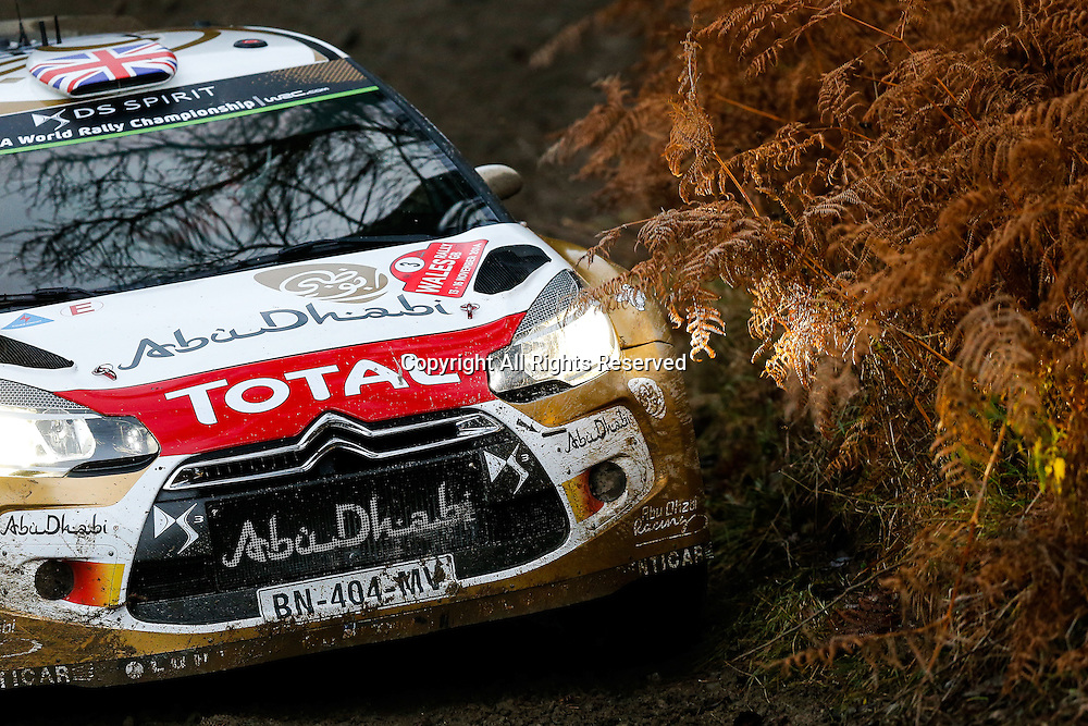 13.11.2014. Clocaenog, Wales. FIA World Rally Championship, Wales Rally GB. Kris Meeke of Great Britain and Paul Nagle of Ireland compete in the Citroen Total Abu Dhabi DS3 WRC during the Clocaenog Forest Shakedown Stage on Day One.