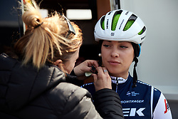 Letizia Paternoster (ITA) prepares for Healthy Ageing Tour 2019 - Stage 5, a 124.3 km road race in Midwolda, Netherlands on April 14, 2019. Photo by Sean Robinson/velofocus.com