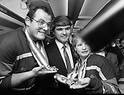 Irish Paralympic Team Arrive Home From Seoul.(R89).1988..28.10.1988..10.28.1988..28th October 1988..The Seoul Summer Paralympics 1988..The very successful Irish Paralympic team arrived home to Dublin today. The team managed a haul of 42 medals, 13 Gold, 11 Silver, 18 Bronze which earned them 19th place in the overall medal table...Minister of State for Youth and Sport, Frank Fahey, was pictured meeting Ireland's Olympians as they displayed their medals aboard their Aer Lingus flight.