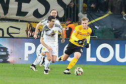 03.03.2015, Stadion Dresden, Dresden, GER, DFB Pokal, SG Dynamo Dresden vs Borussia Dortmund, Achtelfinale, im Bild Henrikh Mkhitaryan (#10, Borussia Dortmund) wird von Marvin Stefaniak (#34, Dynamo Dresden) abgelaufen // SPO during German DFB Pokal last sixteen match between SG Dynamo Dresden and Borussia Dortmund at the Stadion Dresden in Dresden, Germany on 2015/03/03. EXPA Pictures &copy; 2015, PhotoCredit: EXPA/ Eibner-Pressefoto/ Hundt<br /> <br /> *****ATTENTION - OUT of GER*****
