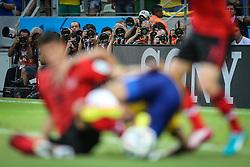 Fotojornalistas na partida entre Brasil x México, válida pela segunda rodada do grupo A da Copa do Mundo 2014, no estádio Castelão em Fortaleza, Ceará. FOTO: Jefferson Bernardes/ Agência Preview