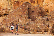 350204-1008 ~ Copyright: George H. H. Huey ~ Visitors at Pueblo Bonito. Chaco Culture National Historic Park, New Mexico.