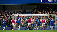 Football - 2019 / 2020 Premier League - Chelsea vs. Burnley<br /> <br /> Jorginho(Chelsea FC) sends Nick Pope (Burnley FC) the wrong way from the penalty spot to put Chelsea in the lead at Stamford Bridge <br /> <br /> COLORSPORT/DANIEL BEARHAM