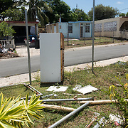 AUGUST 27, 2018--VIEQUES---PUERTO RICO--<br /> Hurricane destroyed houses in a neighborhood in Vieques. Some of he houses are abandoned, others under reconstruction. Debries sits in front of some of the properties.<br /> (Photo by Angel Valentin/Freelance)