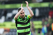 Forest Green Rovers Liam Noble(15) applauds the fans during the Vanarama National League match between Forest Green Rovers and Wrexham FC at the New Lawn, Forest Green, United Kingdom on 18 March 2017. Photo by Shane Healey.
