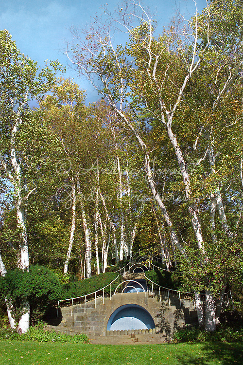 Fletcher Steele's Blue Steps at Naumkeag,  Stockbridge, MA, USA. Series of deep blue fountain pools with four flights of stairs climbing up a gentle hillside and overhung by birch trees. Designed in 1938.