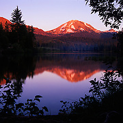 Lassen Peak reflecting in Manzanita Lake, Lassen Volcanic National Park, CA.