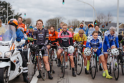 A minutes silence at kilometre zero to mark the victims of yesterday's terrorist attacks in Brussels - Dwars door Vlaanderen 2016, a 103km road race from Tielt to Waregem, on March 23rd, 2016 in Flanders, Netherlands.