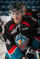 KELOWNA, CANADA - OCTOBER 18:  Tyson Baillie #24 of the Kelowna Rockets warms up on the ice as the Prince George Cougars visit the Kelowna Rockets on October 18, 2012 at Prospera Place in Kelowna, British Columbia, Canada (Photo by Marissa Baecker/Shoot the Breeze) *** Local Caption ***