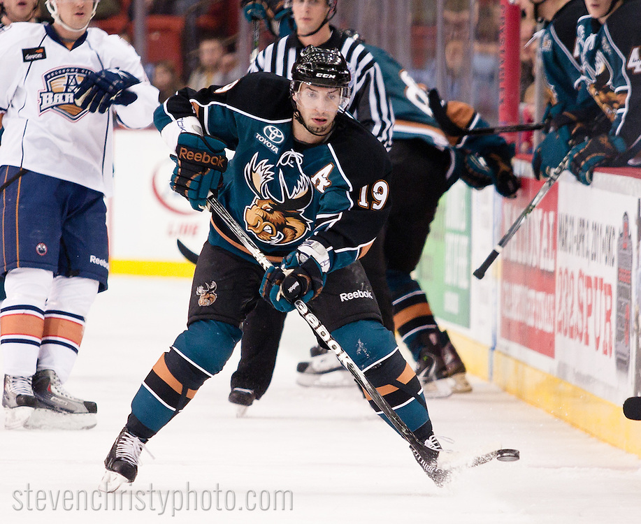 December 10, 2010: The Oklahoma City Barons play the Manitoba Moose in an American Hockey League game at the Cox Convention Center in Oklahoma City.