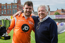 © Licensed to London News Pictures . 02/08/2015 . Droylsden Football Club , Manchester , UK . Son and father DANNY and VINCE MILLER . Celebrity football match in aid of Once Upon a Smile and Debra , featuring teams of soap stars . Photo credit : Joel Goodman/LNP