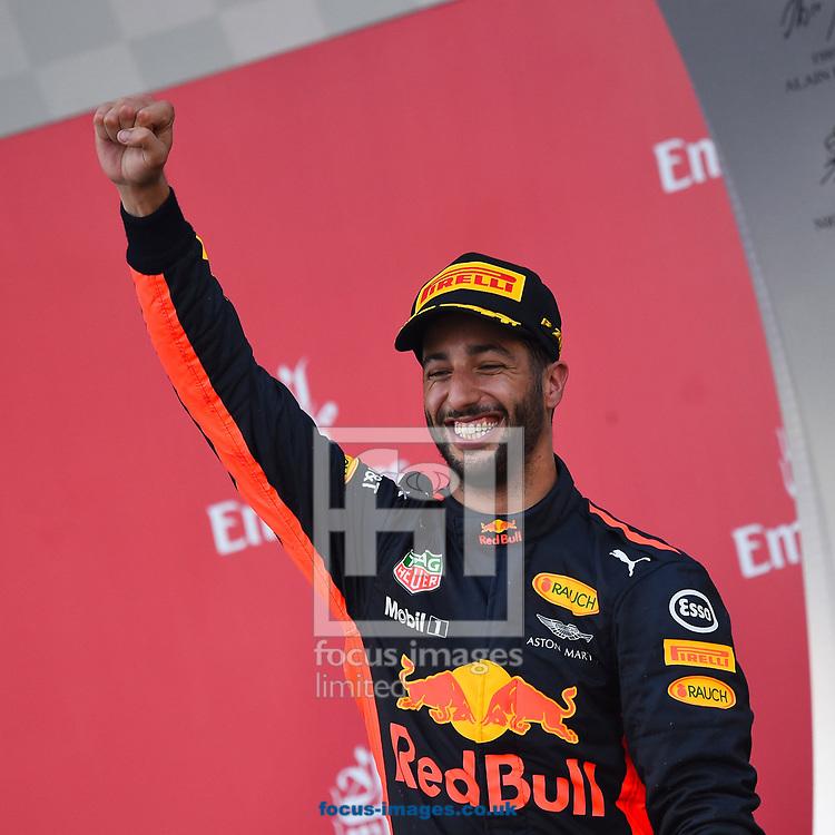 Daniel Ricciardo of Red Bull celebrates winning the Azerbaijan Formula One Grand Prix at Baku City Circuit, Baku<br /> Picture by EXPA Pictures/Focus Images Ltd 07814482222<br /> 25/06/2017<br /> *** UK & IRELAND ONLY ***<br /> <br /> EXPA-EIB-170625-0059.jpg