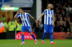 Anthony Knockaert of Brighton & Hove Albion looks frustrated as Bruno Saltor of Brighton & Hove Albion holds him back - Mandatory by-line: Robbie Stephenson/JMP - 21/04/2017 - FOOTBALL - Carrow Road - Norwich, England - Norwich City v Brighton and Hove Albion - Sky Bet Championship