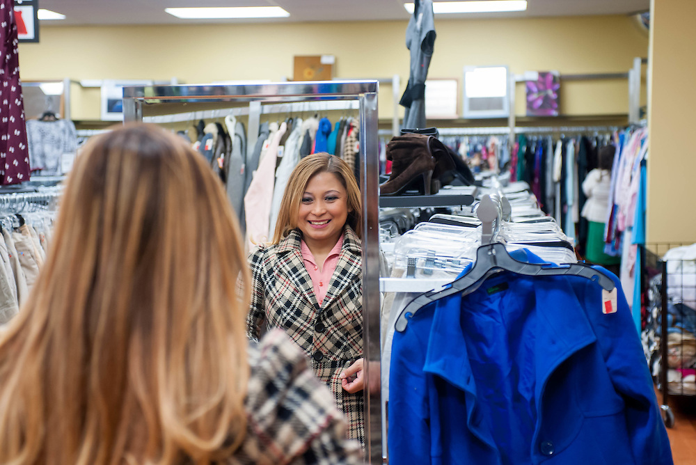 Lei Ann Resurreccion shopping at the Cambridge, MA, Goodwill store.