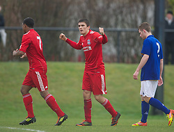 KIRKBY, ENGLAND - Friday, February 24, 2012: Liverpool's Adam Morgan celebrates scoring the third goal against Everton during the FA Premier League Academy match at the Kirkby Academy. (Pic by David Rawcliffe/Propaganda)