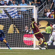 Venezuela Keeper DANIEL HERNANDEZ (12), left, makes a save in the second half of a Copa America Centenario Group C match between Uruguay and Venezuela Thursday, June. 09, 2016 at Lincoln Financial Field in Philadelphia, PA.