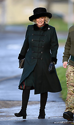 Pictured is The Duchess of Cornwall arriving at Bulford Barracks.<br /> Camilla, The Duchess of Cornwall, presents Operational Service Medals to soldiers of 4th Battalion, The Rifles who have recently returned from Afghanistan at Bulford Barracks, Wiltshire, United Kingdom. Monday, 9th December 2013. Picture by Ben Stevens / i-Images