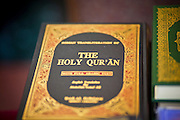 "Sept. 10 - GLENDALE, AZ: Qurans (also called Korans) available in the Glendale Civic Center before Eid ul-Fitr services. Muslims from the Phoenix area celebrated Eid ul-Fitr, the end of Ramadan, at the Glendale Civic Center in Glendale, AZ, a suburb of Phoenix. Eid ul-Fitr, often abbreviated to Eid, is the Muslim holiday that marks the end of Ramadan, the Islamic holy month of fasting. Eid is an Arabic word meaning ""festivity"", while Fitr means ""conclusion of the fast""; and so the holiday symbolizes the celebration of the conclusion of the month of fasting from dawn to sunset during the entire month of Ramadan. The first day of Eid, therefore, is the first day of the month Shawwal that comes after Ramadan.  Photo by Jack Kurtz"