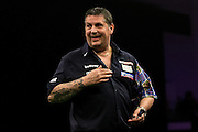 Gary Anderson during the Premier League Darts  at the Motorpoint Arena, Cardiff, Wales on 31 March 2016. Photo by Shane Healey.