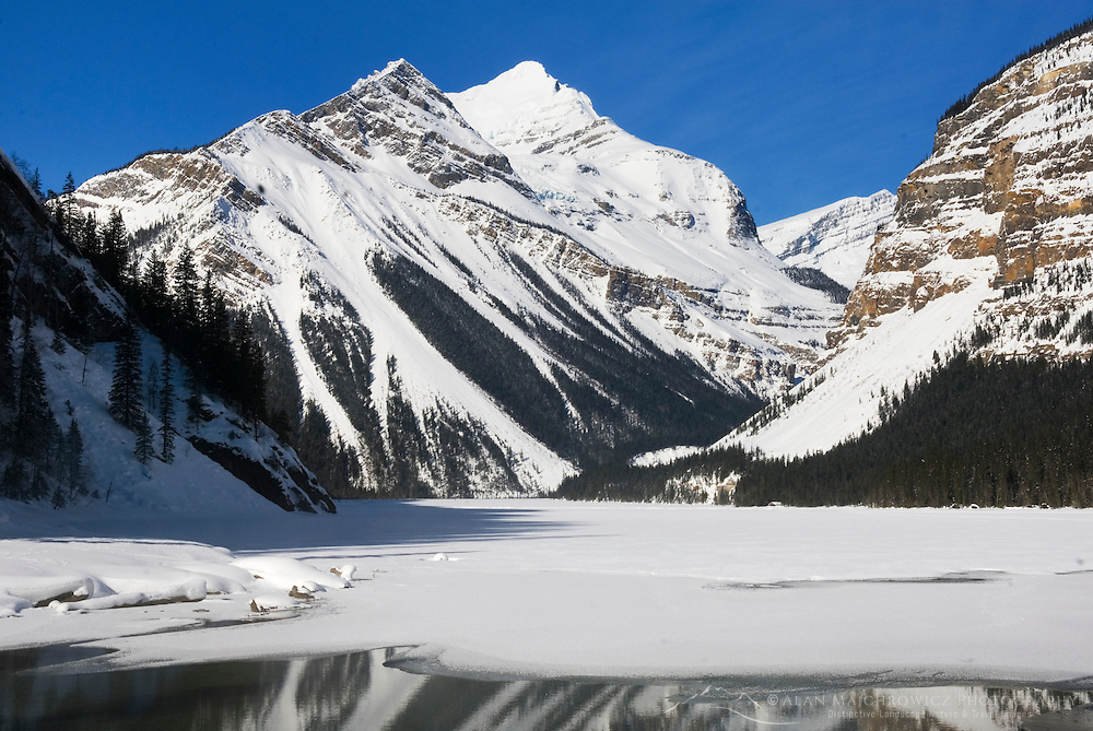 Kinney Lake in winter, Mount Robson Provincial Park British Columbia Canada