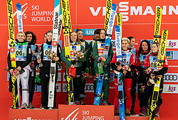 Second placed team Slovenia, winning team Germany and third placed team Austria celebrate during Trophy ceremony after the Team Competition at Day 2 of World Cup Ski Jumping Ladies Ljubno 2019, on February 9, 2019 in Ljubno ob Savinji, Slovenia. Photo by Matic Ritonja / Sportida