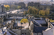 France. Paris. Elevated view on the Seine river. ile de la cite, Seine river quay and city island view  from Saint Gervais Saint Protee church  Paris  France Paris
