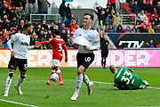 Tom Lawrence (10) of Derby County celebrates after he thinks he scored a later goal but it is ruled out for off side during the EFL Sky Bet Championship match between Bristol City and Derby County at Ashton Gate, Bristol, England on 27 April 2019.