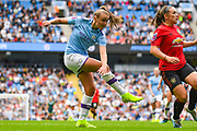 Manchester City Women forward Georgia Stanway (10) takes a shot during the FA Women's Super League match between Manchester City Women and Manchester United Women at the Sport City Academy Stadium, Manchester, United Kingdom on 7 September 2019.