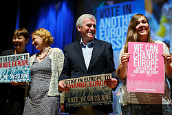 """© Licensed to London News Pictures. 28/05/2016. London, UK. Labour Shadow Chancellor JOHN MCDONNELL poses with campaigners after speaking at """"Another Europe is Possible"""" rally at UCL Institute of Education in London, campaigning for a remain vote at the upcoming EU referendum.  Speakers at the event include former Greek Finance Minister Yanis Varoufakis and Green Party MP Caroline Lucas. Photo credit: Tolga Akmen/LNP"""