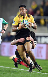 Hurricanes Julian Savea tackled by Crusaders Scott Barrett in Super Rugby match at Westpac Stadium, Wellington, New Zealand, Saturday, July 15, 2017. Credit:SNPA / Ross Setford  **NO ARCHIVING""