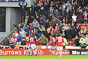 Barnsley fans and team celebrate Barnsley FC midfielder Adam Hammill (7) scoring goal to go 2 all during the EFL Sky Bet Championship match between Barnsley and Bristol City at Oakwell, Barnsley, England on 29 October 2016. Photo by Ian Lyall.