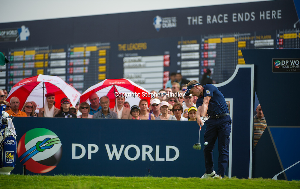 Luke Donald of England begins his final round of the DP World Tour Championship held at the Jumeirah Golf Estates in Dubai, United Arab Emirates, on Sunday, November 17, 2013.  Photo by: Stephen Hindley/SPORTDXB