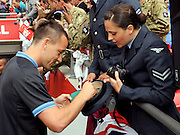 01.JUNE.2012. LONDON<br /> <br /> CORPORAL MICHELLE HARVEY-PERKINS, CAPTAIN OF THE RAF LADIES' FOOTBALL TEAM AND AN AVID CHELSEA FAN MET ENGLAND AND CHELSEA STAR JOHN TERRY WHO HANDED HER HIS FOOTBALL BOOTS AND A SIGNED SHIRT.  <br /> <br /> BYLINE: EDBIMAGEARCHIVE.CO.UK<br /> <br /> *THIS IMAGE IS STRICTLY FOR UK NEWSPAPERS AND MAGAZINES ONLY*<br /> *FOR WORLD WIDE SALES AND WEB USE PLEASE CONTACT EDBIMAGEARCHIVE - 0208 954 5968*