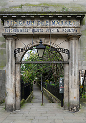 Historic former entrance arch to Stockbridge Market in Stockbridge, Edinburgh, Scotland, United Kingdom