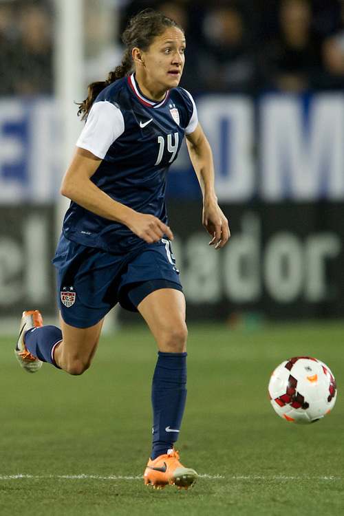 FRISCO, TX - JANUARY 31:  Stephanie Cox #14 of the U.S. Women's National Team controls the ball against the Canadian Women's National Team on January 31, 2014 at Toyota Stadium in Frisco, Texas.  (Photo by Cooper Neill/Getty Images) *** Local Caption *** Stephanie Cox