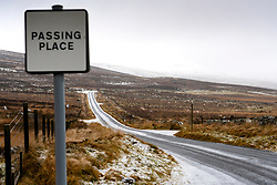 Amulree, Perthshire, Scotland, UK. 16th Dec 2019. Passing place on single-track U173 Kenmore to Amulree road seen during a wintry snow fall today. Police and Perth and Kinross Council plan to close a five-mile long stretch of the scenic road through Glen Quaich for 17 weeks from 23 Dec 2019 because it is too dangerous in snow and ice. The road through Glen Quaich is regarded as one of the most picturesque, and dangerous, in Perthshire. Iain Masterton/Alamy Live News