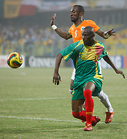 Photo: Steve Bond/Richard Lane Photography.<br />Ivory Coast v Mali. Africa Cup of Nations. 29/01/2008. Didier Zakora (back) shepherds Mamadou Diallo (front) away from the danger area
