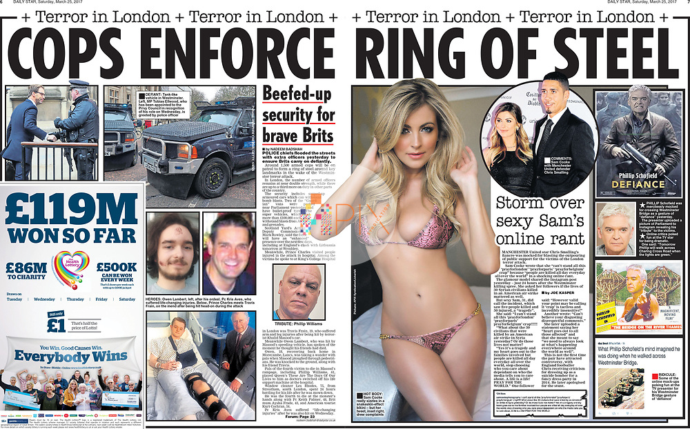Manchester United player Chris Smalling's fiancée Sam Cooke caused controversy with her tweets about the London terror attack, as reported by the Daily Star newspaper, UK on 25 March 2017.<br /> <br /> Main image from our shoot 'Sam Cooke' which is model released for all uses:  http://www.apixsyndication.com/gallery/Sam-Cooke/G0000NhzxPfGKdJA/C00003G_LZ.ok9PA