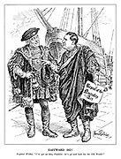 "Eastward Ho! Explorer Willkie. ""I've got an idea, Franklin: let's go and look for the Old World!"" (dressed in medieval clothing Wendell Wilkie pursuades President Roosevelt to come and discover Europe with the Repeal of the Neutrality Act)"