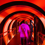 A River Plate fan enters the futuristic tunnel of the museum at River Plates' El Monumental stadium, Buenos Aires, Argentina, 25th June 2010. Photo Tim Clayton.