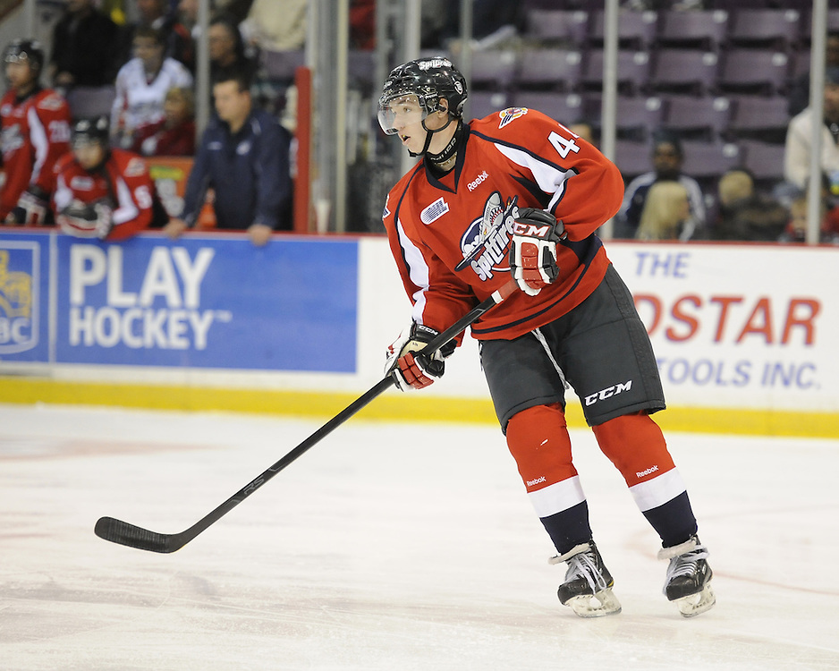 Adam Bateman of the Windsor Spitfires. Photo by Aaron Bell/OHL Images