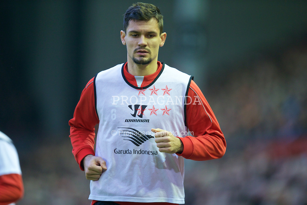 LIVERPOOL, ENGLAND - Saturday, November 29, 2014: Liverpool's substitute Dejan Lovren during the Premier League match against Stoke City at Anfield. (Pic by David Rawcliffe/Propaganda)