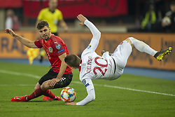March 21, 2019 - Vienna, Austria - Piotr Zielinski of Poland fouled by Aleksandar Dragovic of Austria during the UEFA European Qualifiers 2020 match between Austria and Poland at Ernst Happel Stadium in Vienna, Austria on March 21, 2019  (Credit Image: © Andrew Surma/NurPhoto via ZUMA Press)