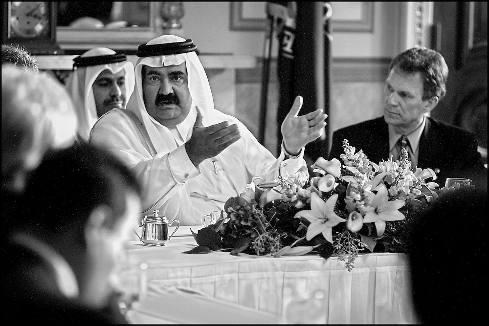 Senate Majority Leader Tom Daschle listens to Amir Hamad bin Khalifa Al Thani of Qatar as he answers questions of other Senator attending meeting on Capitol Hill.  10/3/01..©PF BENTLEY/PFPIX.com