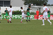Slovenia midfielder Gal Puconja (8) heads the ball away from Canada defenseman Jordan Lemos (4) during a CONCACAF boys under-15 championship soccer game, Saturday, August 10, 2019, in Bradenton, Fla. Slovenia defeated Canada in 2-1 in overtime and advanced to the finals against Portugal. (Kim Hukari/Image of Sport)