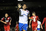 Gary Roberts slows down the play during the Sky Bet League 2 match between Crawley Town and Portsmouth at the Checkatrade.com Stadium, Crawley, England on 18 August 2015. Photo by Michael Hulf.