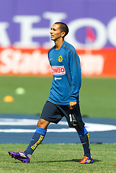 July 16, 2011; San Francisco, CA, USA;  Club America midfielder Edgar Castillo (15) warms up before the game against Manchester City at AT&T Park. Manchester City defeated Club America 2-0.
