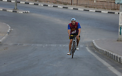 September 23, 2017 - Gaza, gaza strip, Palestine - Palestinian youth participate in Palestine Triathlon Championship (Swimming, Cycling, Running) inside Gaza City Port on Sept. 23, 2017. (Credit Image: © Majdi Fathi/NurPhoto via ZUMA Press)