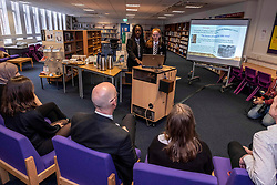 Pictured: Grace Read and Tatiana Honeywell explained the project to Mr Swinney<br />